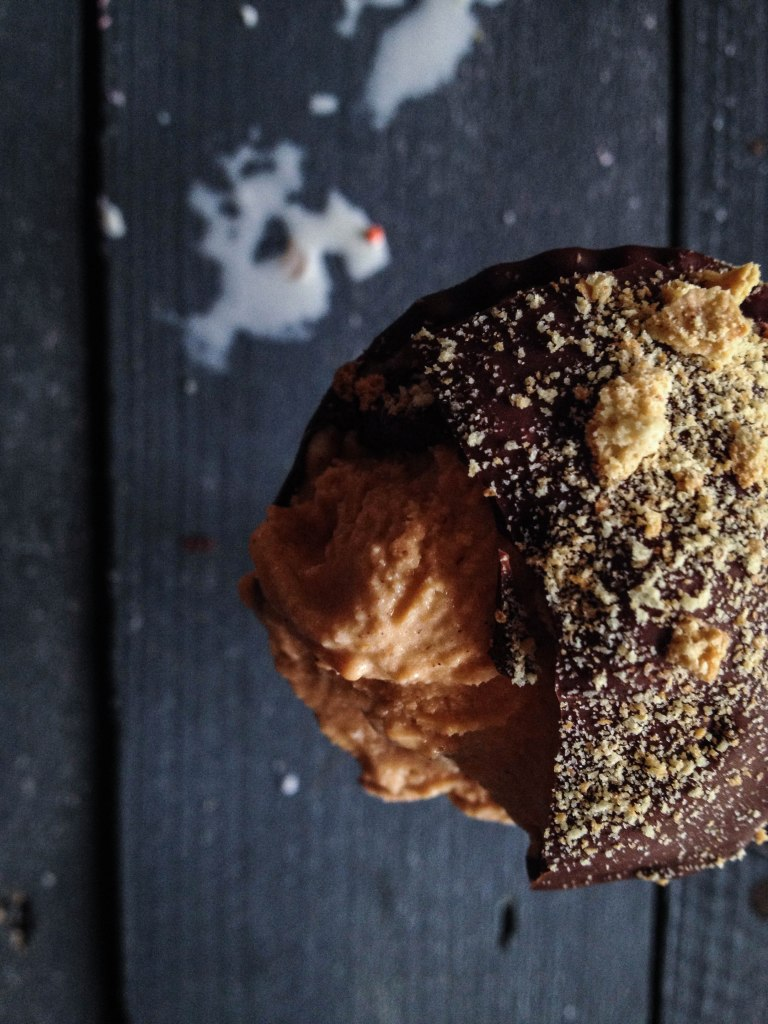 Hungry? Try a chocolate covered pumpkin cone with graham cracker crumbs.